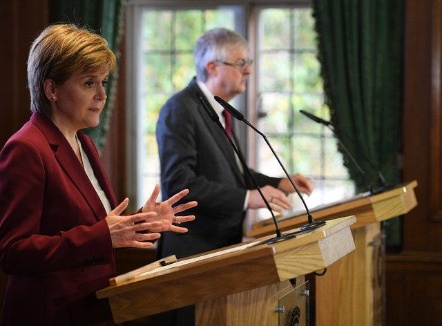 Scottish First Minister Nicola Sturgeon and Welsh First Minister Mark Drakeford pictured in 2019 (Daniel Leal-Olivas/PA)