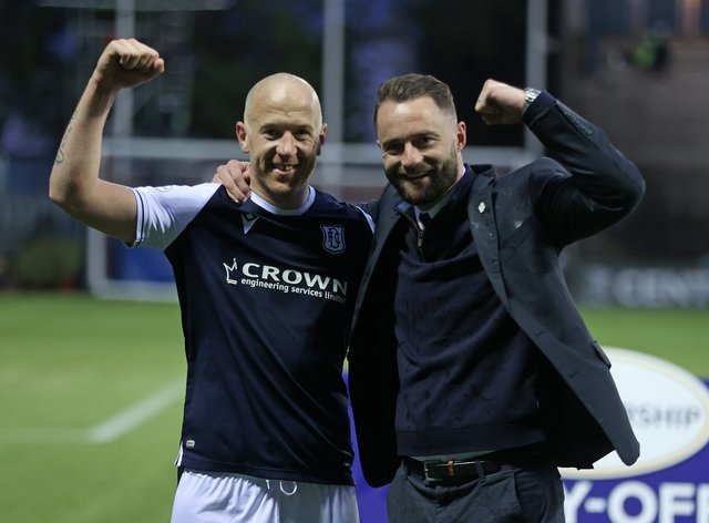 Dundee manager James McPake, right, and Charlie Adam