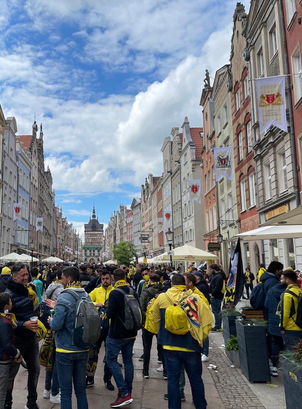 <p>Fans congregate along Dlugi Targ in Gdansk</p>