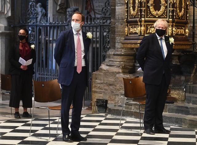Prime Minister Boris Johnson (right) and Health Secretary Matt Hancock attend Westminster Abbey's annual service for the Florence Nightingale Foundation (Victoria Jones/PA)