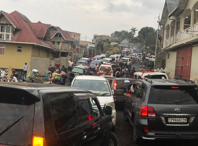 Traffic clogs a main road as residents try to flee Goma in the Democratic Republic of Congo
