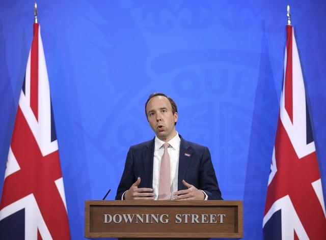 Health Secretary Matt Hancock during a media briefing in Downing Street, London, on coronavirus (Covid-19) (Matt Dunham/PA)