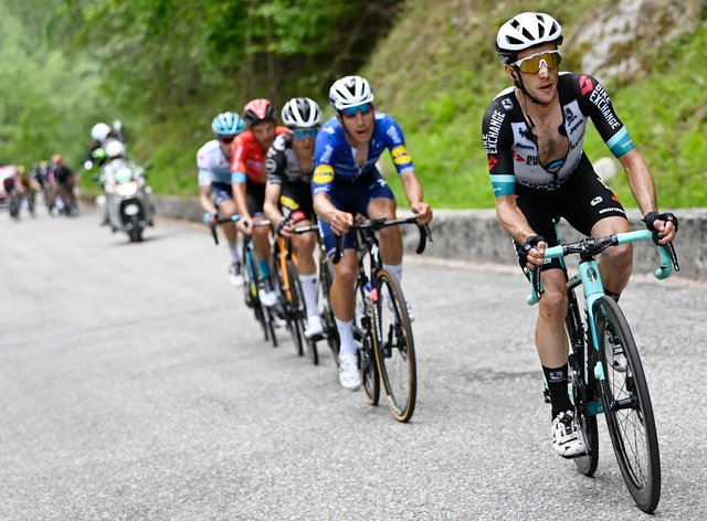 Simon Yates, right, rides clear on the final climb to win stage 19 of the Giro d'Italia