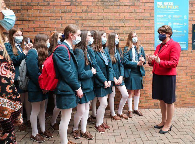 First Minister Arlene Foster during a visit to Banbridge Academy school in Co Down