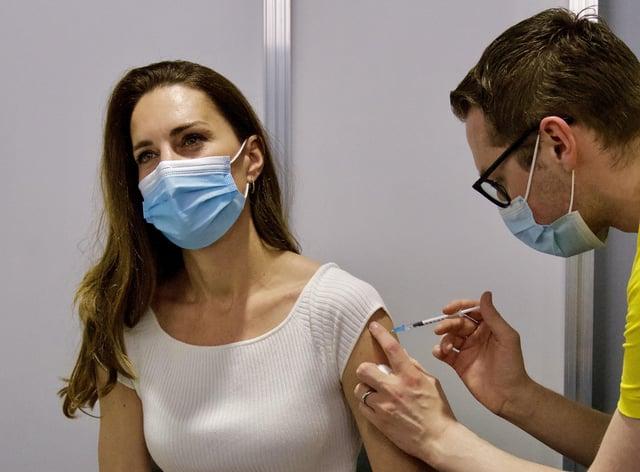The Duchess of Cambridge receiving her coronavirus vaccine at London's Science Museum