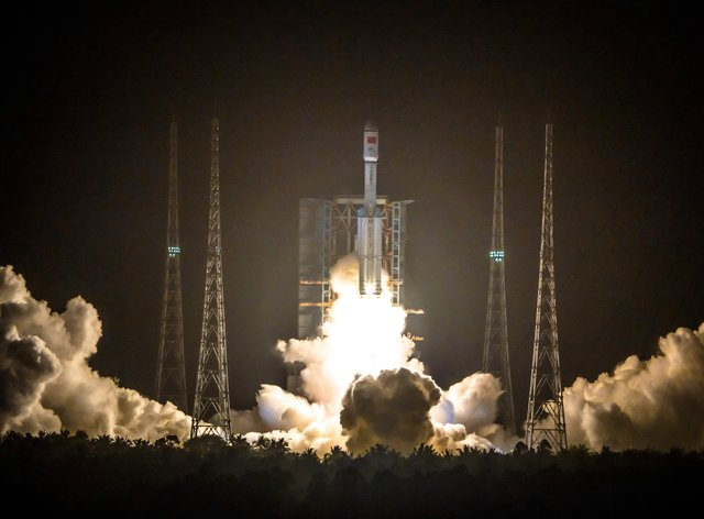 A Long March 7 rocket carrying the Tianzhou-2 spacecraft lifts off from the Wenchang Space Launch Centre in Wenchang in southern China's Hainan Province