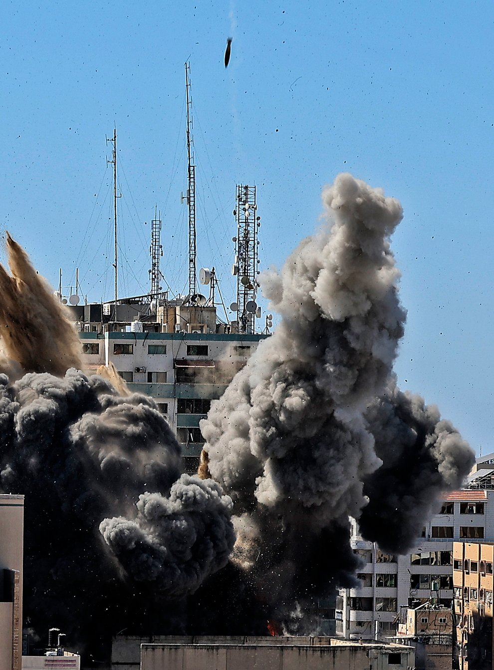 A bomb hits the building