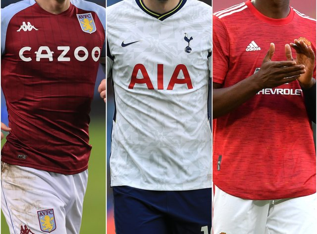 Aston Villa captain Jack Grealish, left, Tottenham striker Harry Kane, centre, and Manchester United midfielder Paul Pogba, right, could be on the move this summer