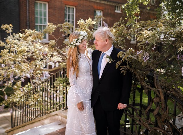 Prime Minister Boris Johnson and Carrie Johnson in the garden of 10 Downing Street after their wedding on Saturday