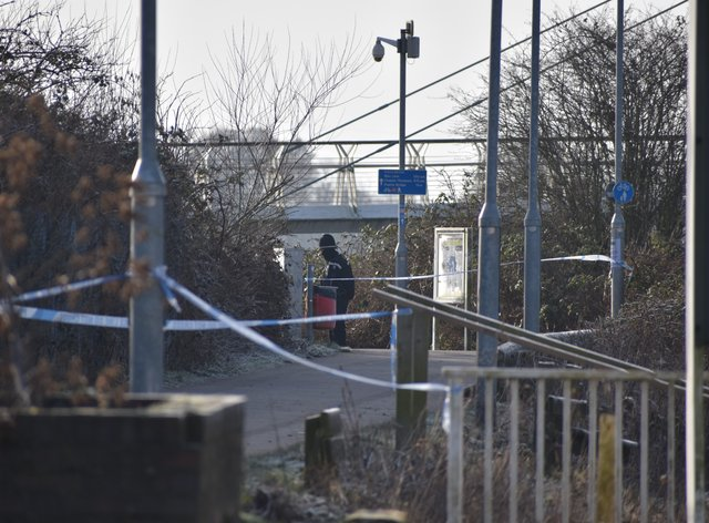 A police cordon near the Diglis footbridge in Worcester