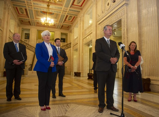 DUP leader Edwin Poots holds a press conference