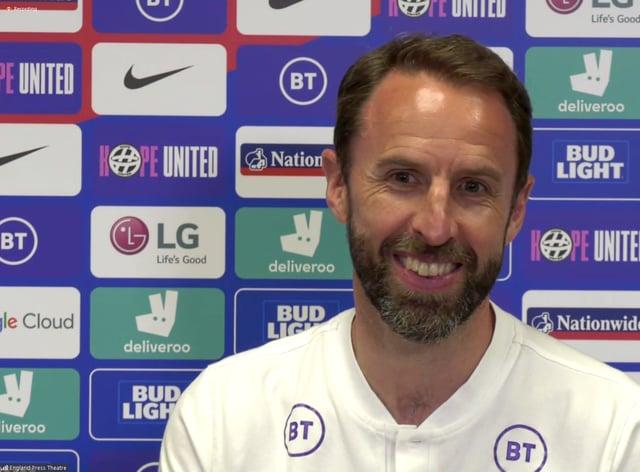 Gareth Southgate smiles in his press conference