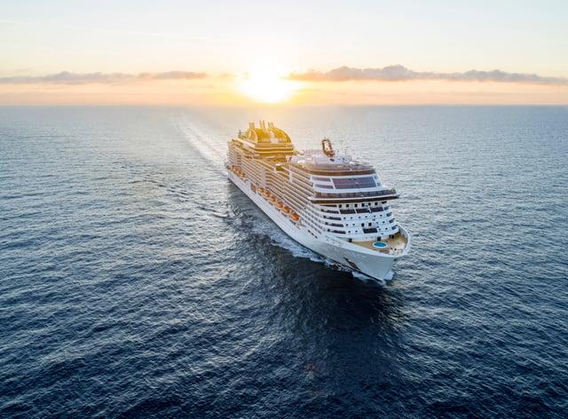 The MSC Virtuosa embarking on its maiden voyage.
