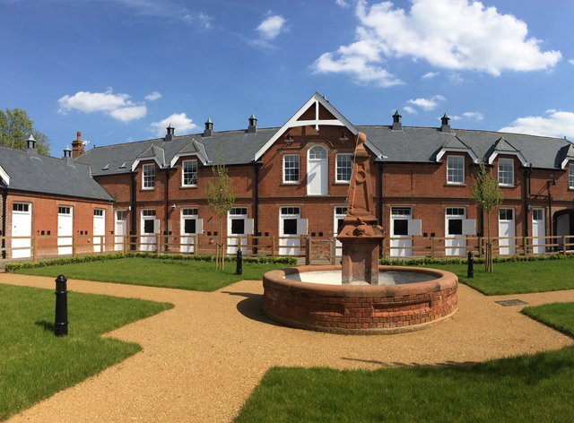 The Rothschild Yard and fountain at the National Horse Racing Museum