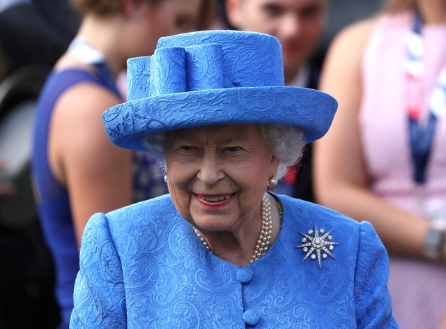 Queen Elizabeth II at Epsom on Derby day in 2019