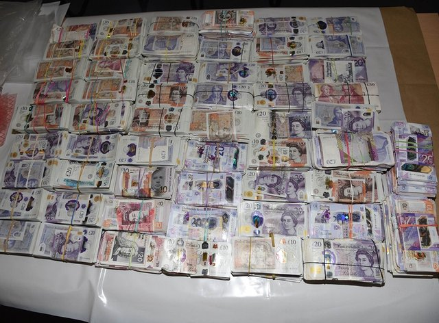 Money found in the possession of Tara Hanlon when she was stopped at Heathrow