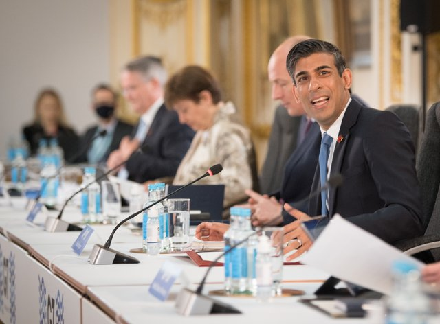 Rishi Sunak at a meeting of finance ministers from across the G7 nations
