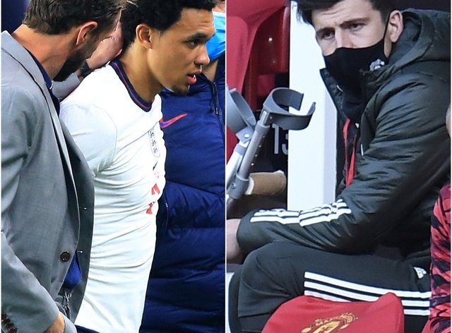 Gareth Southgate consoles Trent Alexander-Arnold, left image, while Harry Maguire waits on crutches