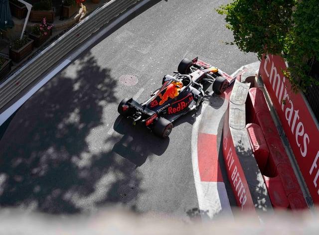<p>Max Verstappen in action in Azerbaijan</p>