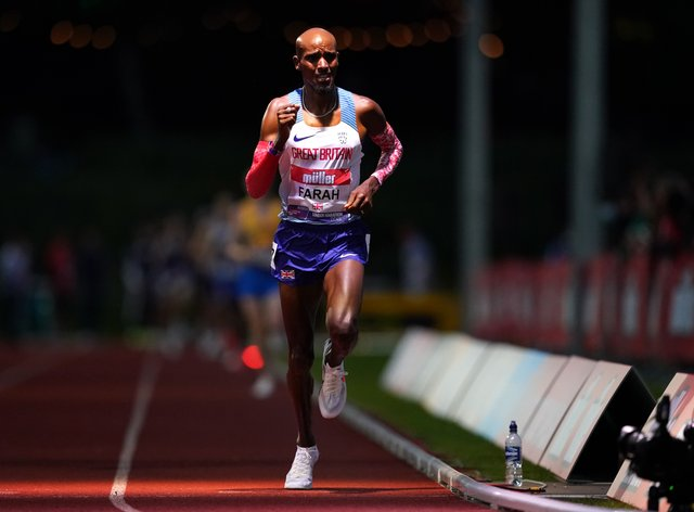 Great Britain's Mo Farah returned to the track in Birmingham