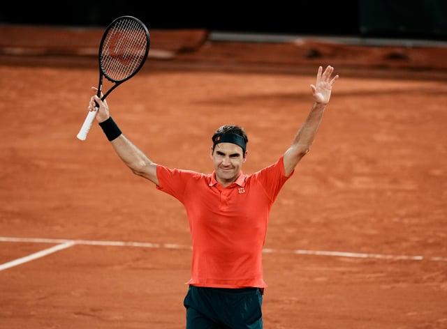 Roger Federer celebrates a hard-fought victory
