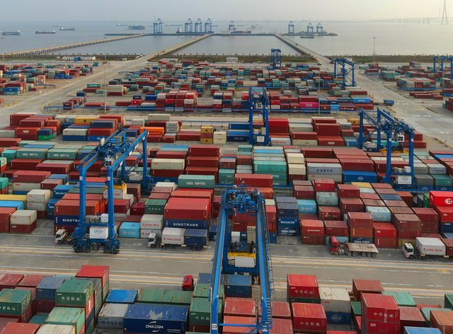 A container port on the Yangtze River is seen in an aerial view