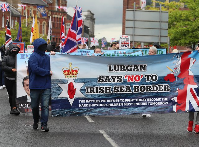 Loyalists take part in an anti-Northern Ireland Protocol rally in Portadown