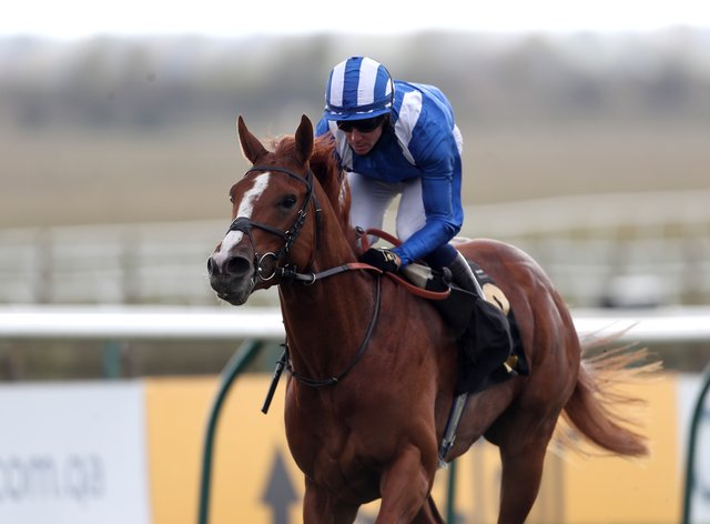 Mohaafeth on his way to winning at Newmarket