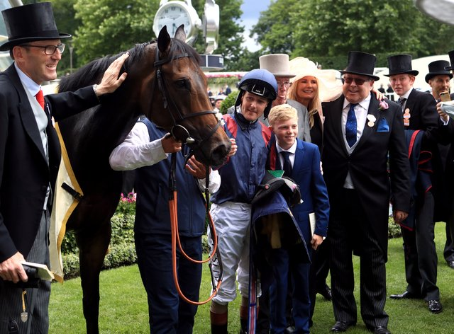 James Fanshawe (left) with The Tin Man after his victory in the Diamond Jubilee Stakes at Royal Ascot in 2017