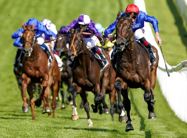 Mojo Star (purple, centre) in action at Epsom