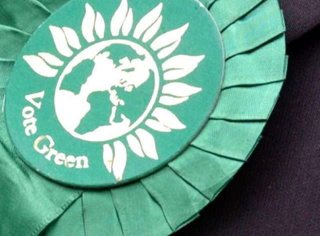 A Green supporter's rosette (Johnny Green/PA)