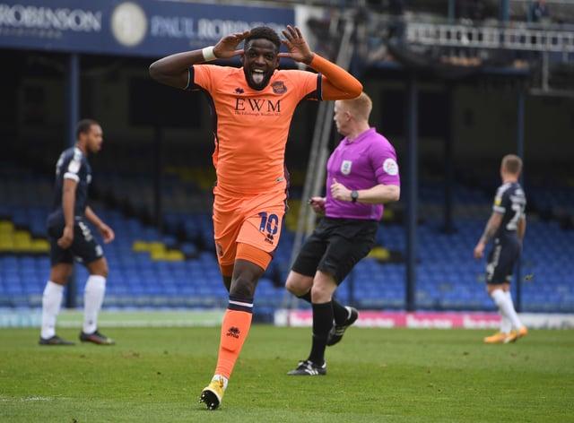 Offrande Zanzala celebrates scoring for Carlisle