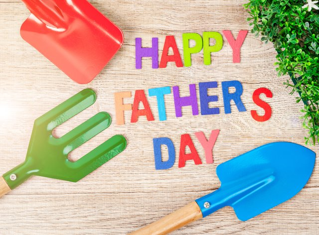 Happy Father's Day wooden letters surrounded by garden tools (Alamy/PA)