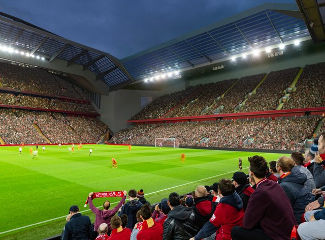An artist's impression of the redevelopment of the Anfield Road Stand