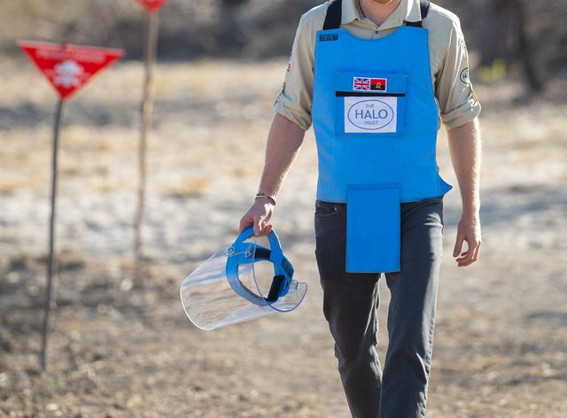 The Duke of Sussex during a visit to a minefield in Dirico, Angola, to see the work of landmine clearance charity Halo Trust in 2019
