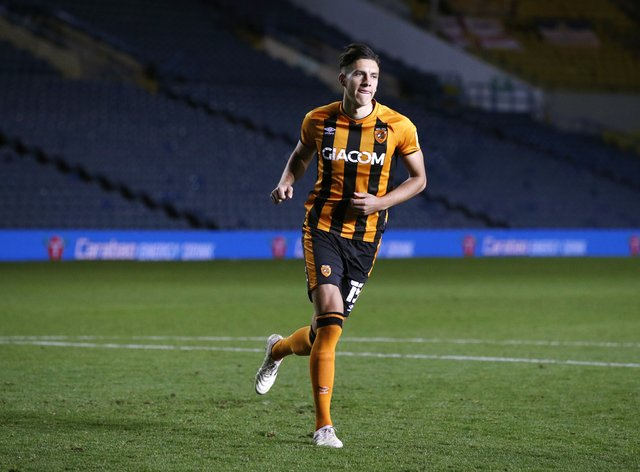 Alfie Jones playing for Hull against Leeds in the Carabao Cup