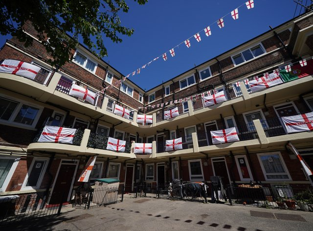 England flags on the Kirby Estate