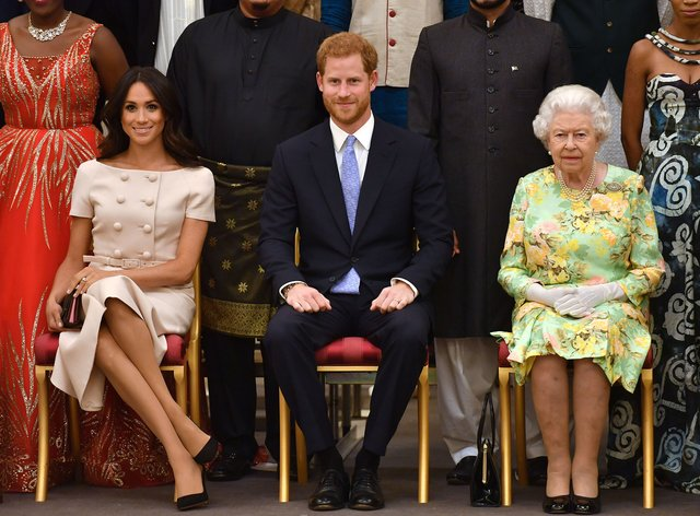 Meghan and Harry with the Queen