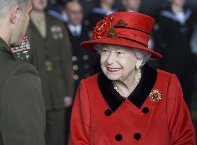The Queen on HMS Queen Elizabeth
