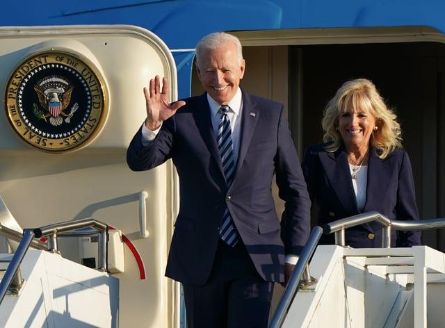 US President Joe Biden and First Lady Jill Biden arrive on Air Force One