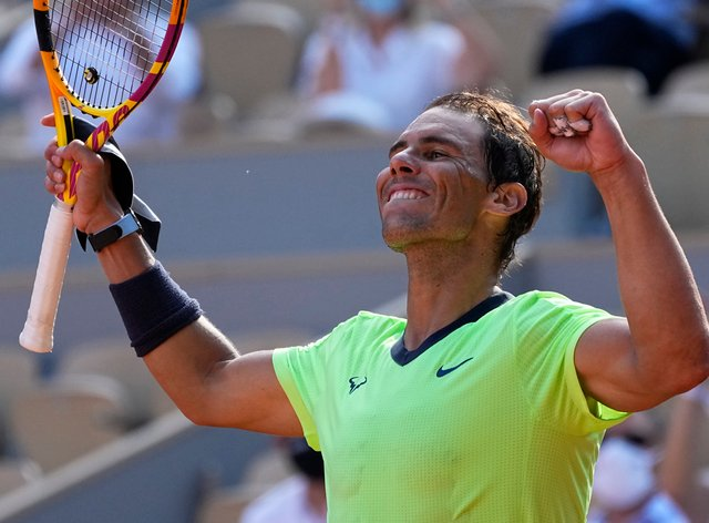 Rafael Nadal celebrates victory over Diego Schwartzman
