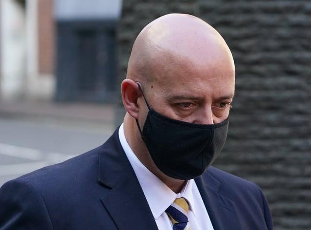 West Mercia Police constable Benjamin Monk arrives at Birmingham Crown Court