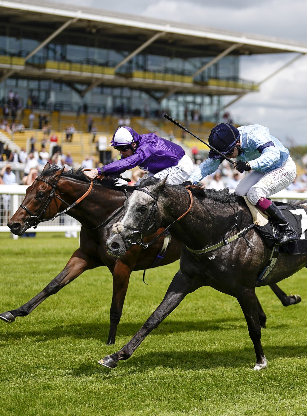 Great Max (left) on his way to victory at Newbury