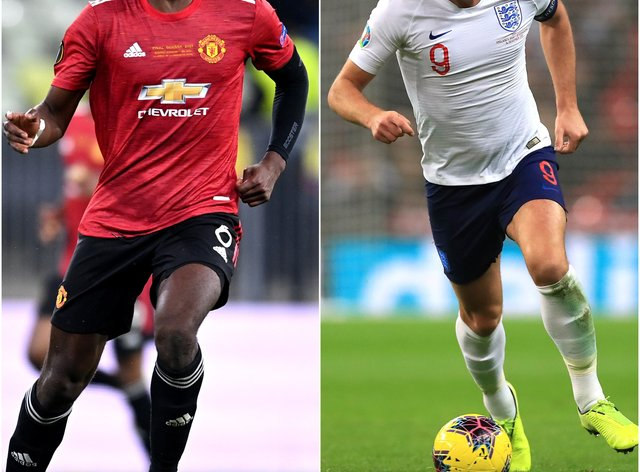 Composite pic of Paul Pogba and Karry Kane