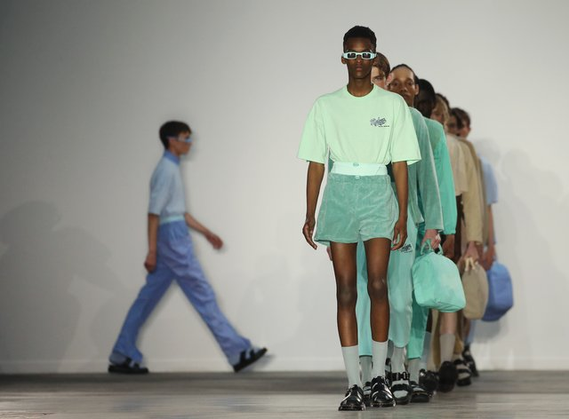 Models on the Robyn Lynch's catwalk during the Fashion East London Fashion Week Men's SS20 show