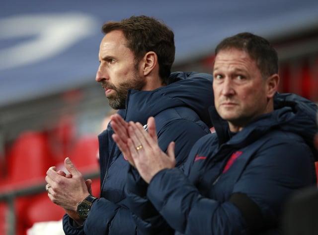 England manager Gareth Southgate (left) and assistant Steve Holland