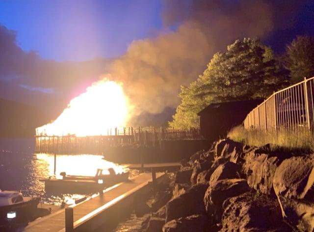 The Scottish Crannog Centre on fire