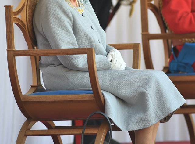<p>The Queen watches the parade at Windsor Castle</p>