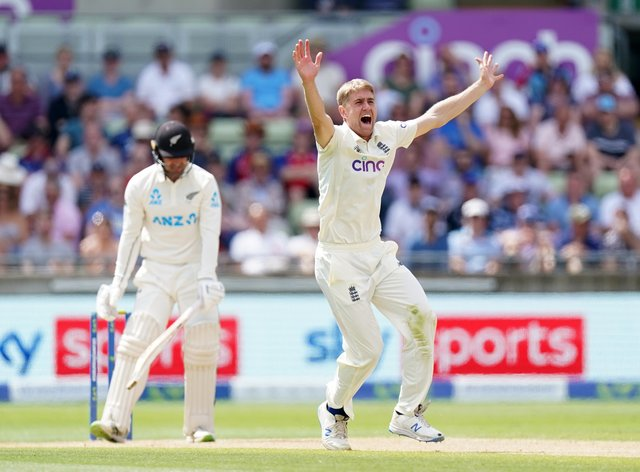 England's Olly Stone appeals unsuccessfully for the wicket of New Zealand's Tom Blundell