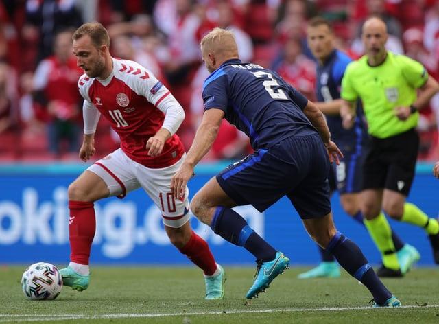 Christian Eriksen, left, collapsed in Denmark's Euro 2020 game against Finland